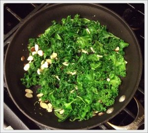 Kale with Jalepnos and Almonds