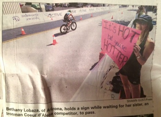 My sister even made the Coeur D'Alene newspaper for being such a great supporter,