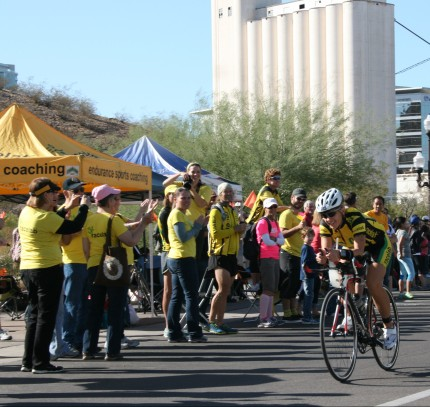 My racelab team cheering me on at IMAZ.